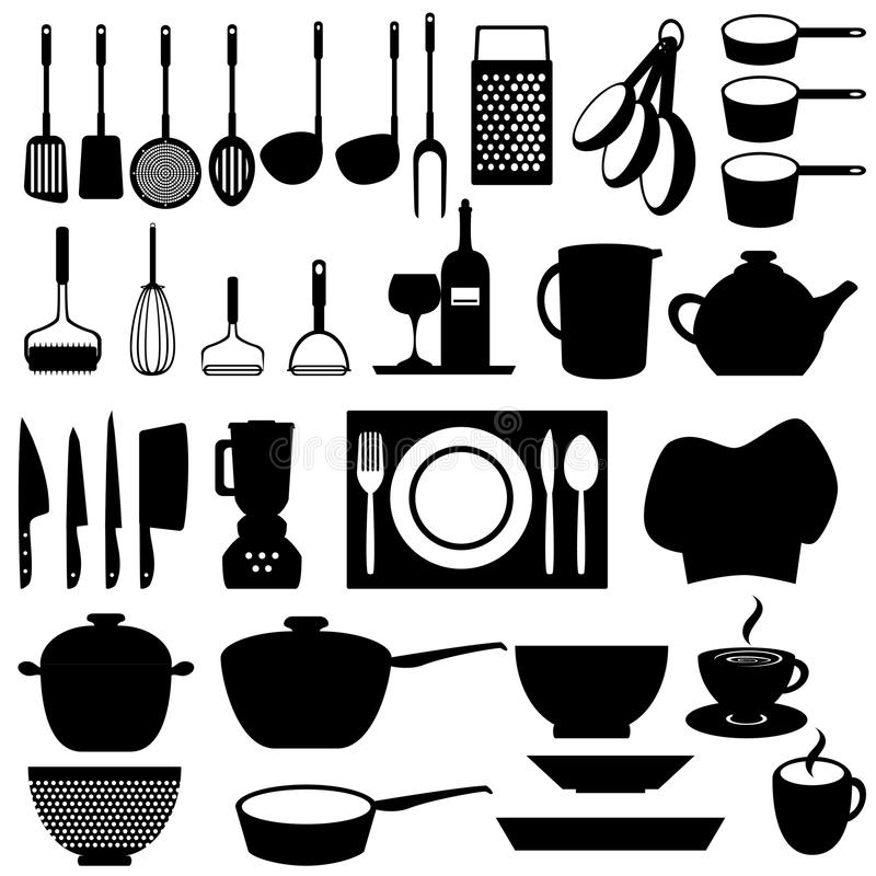 Download Kitchen utensils and tools stock vector. Image of saucer - 21282578