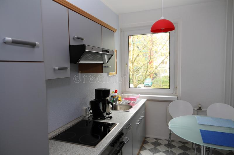Kitchen in a apartment stock photos