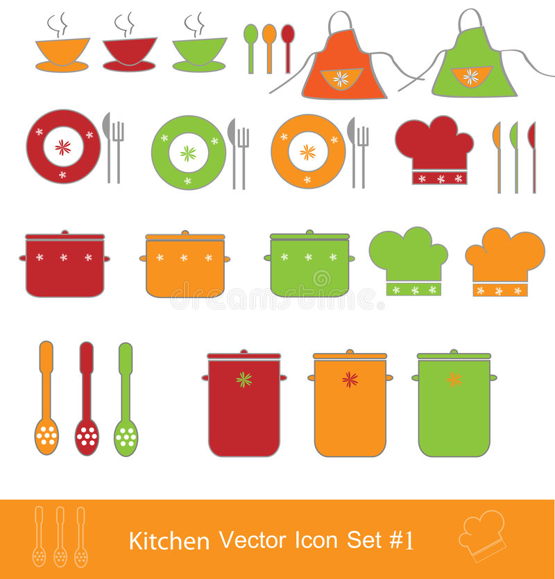 Kitchen vector icon set royalty free illustration