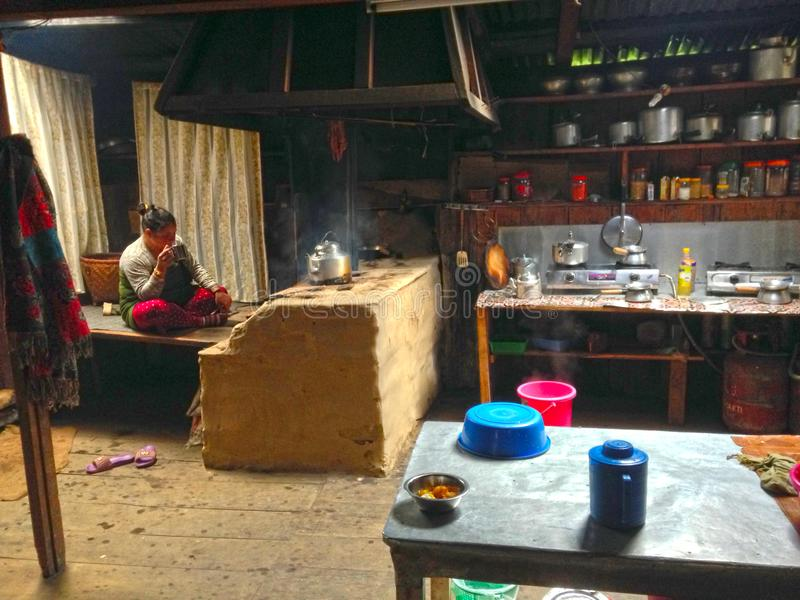 Kitchen in the village of Sherpas royalty free stock photo