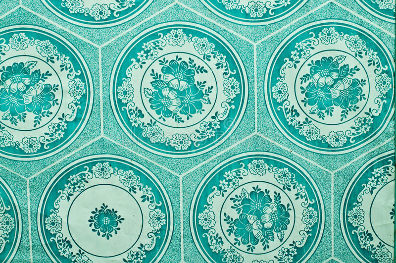 Kitchen wallpaper. Kitchen british blue wallpaper with floral pattern royalty free stock images