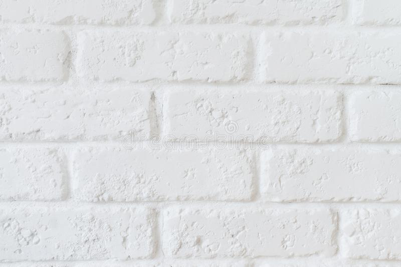 Kitchen wallpaper concept: Close up modern white brick tiles wall texture background. White brick wall texture royalty free stock photography