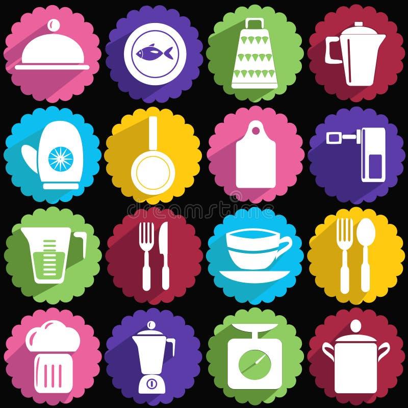 Kitchen ware icon set royalty free illustration