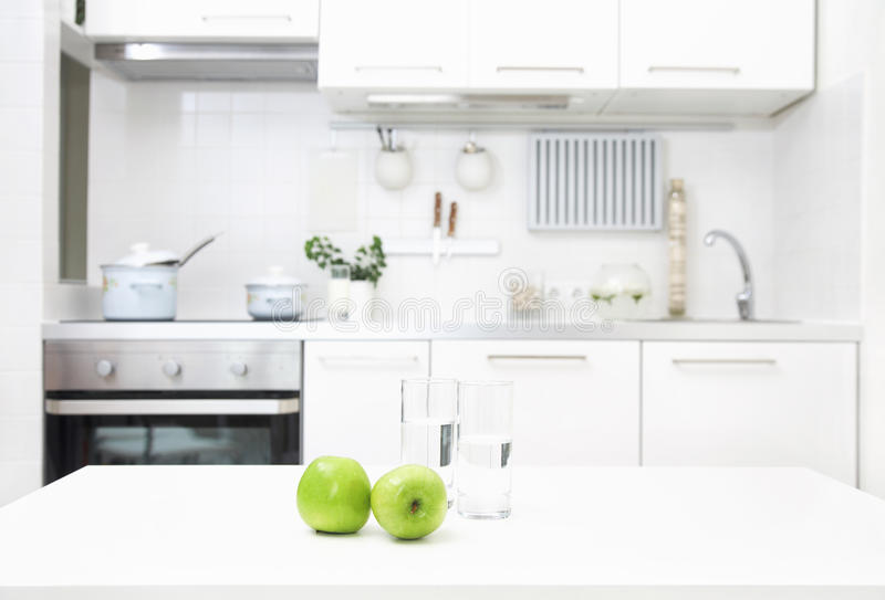 Kitchen in white colors stock image