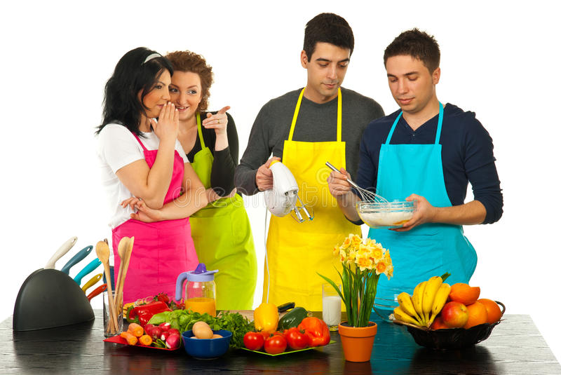 Kitchen women gossip royalty free stock photos