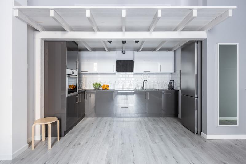 Kitchen with wooden ceiling royalty free stock photography