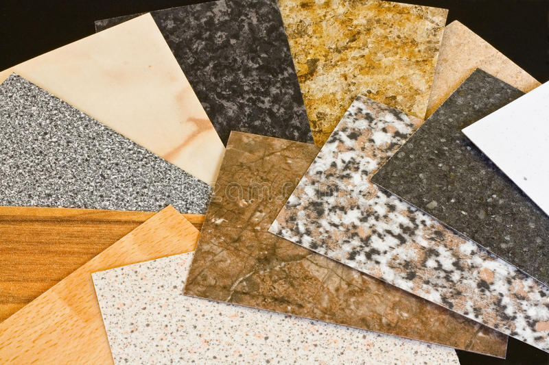 Kitchen worktop sample swatches. Kitchen worktop samples showing a variety of textured finishes available royalty free stock photography