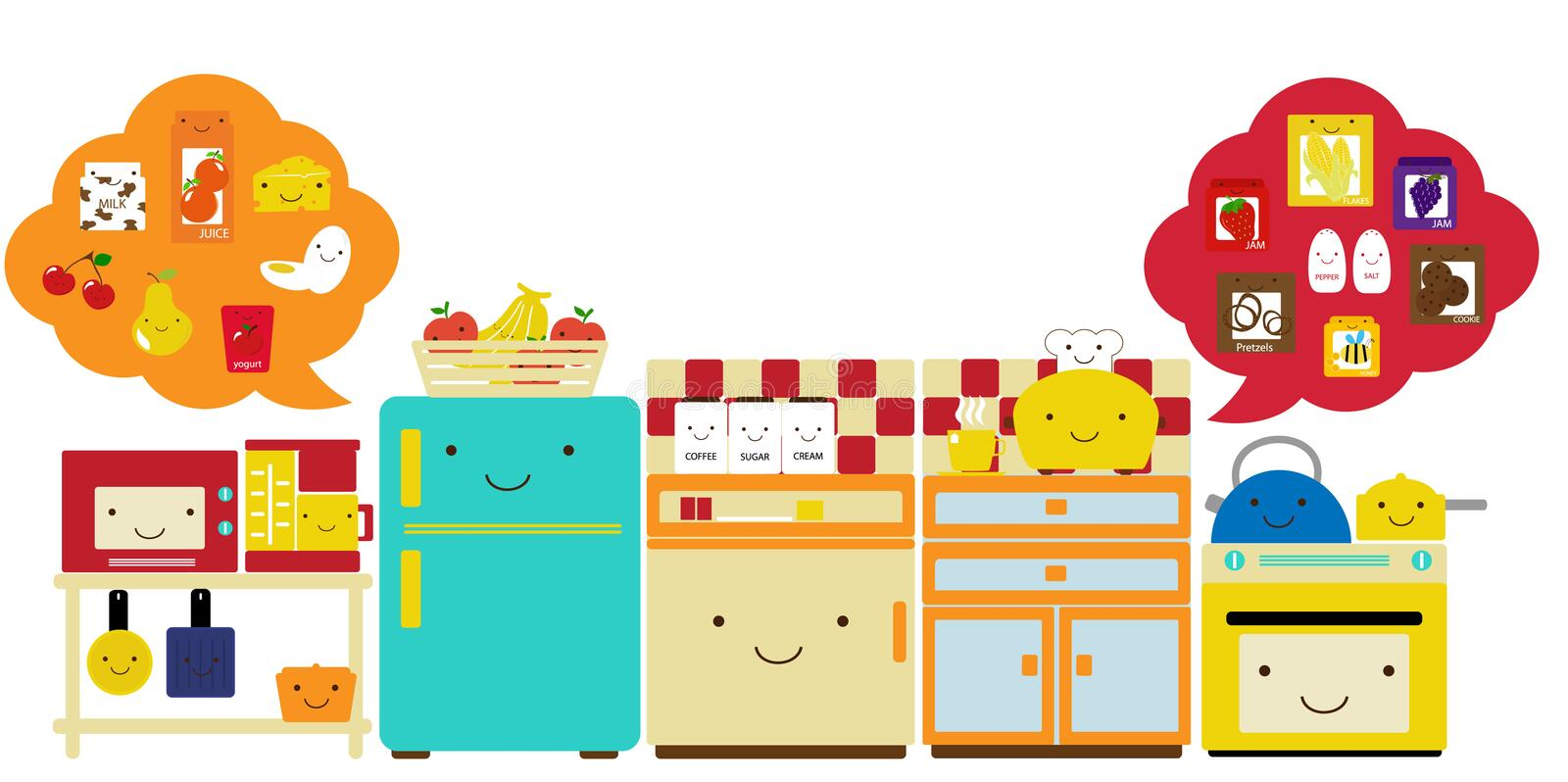 Download Kitchen5 stock vector. Image of fruits, drinks, apple - 9298726