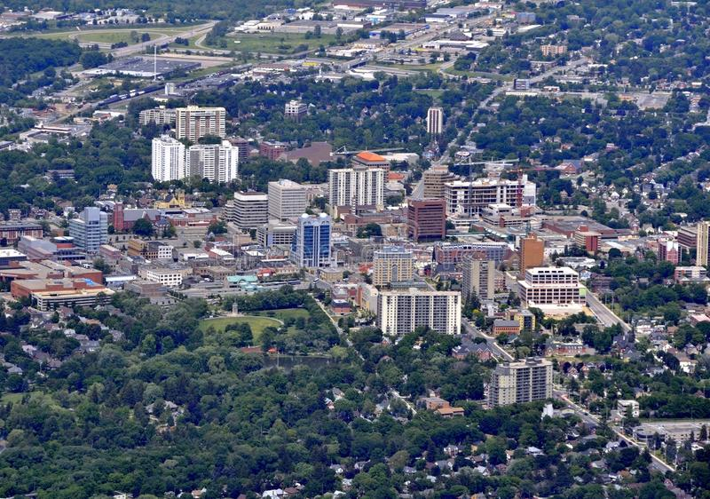 Kitchener Waterloo aerial. Aerial view of the downtown area of Kitchener Ontario Canada stock photo