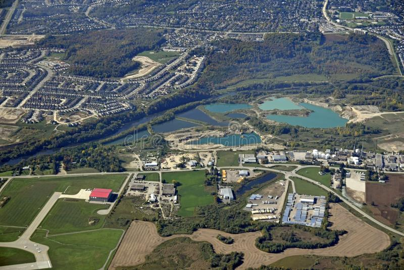 Kitchener Waterloo aerial. Aerial view of the urban landscape around Kitchener Waterloo region in Ontario Canada royalty free stock photo