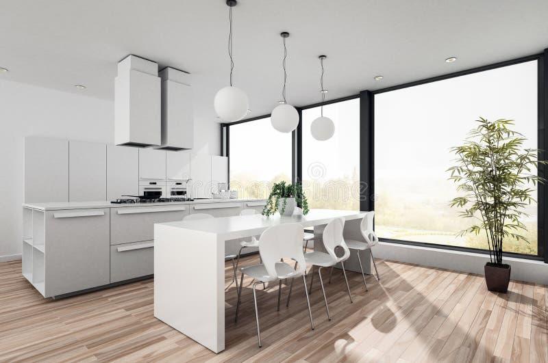 Kitchenette ouverte de plan de blanc moderne illustration de vecteur