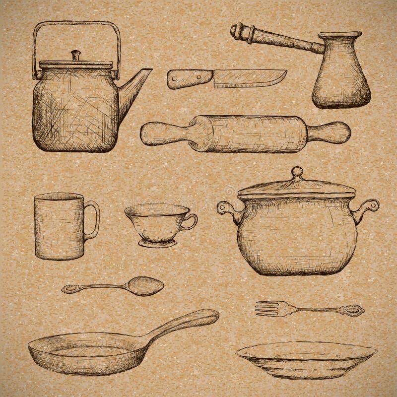 kitchenware Εικόνα Doodle απεικόνιση αποθεμάτων