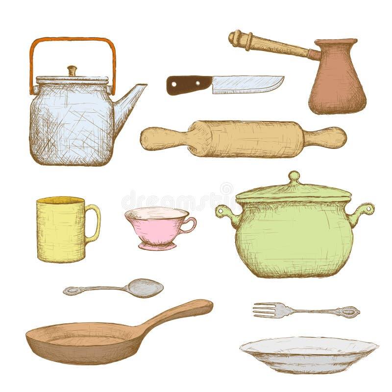 kitchenware πορτοκαλί απόθεμα απεικόνισης ανασκόπησης φωτεινό διανυσματική απεικόνιση
