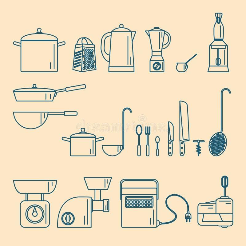 kitchenware Συσκευές και εργαλεία διανυσματική απεικόνιση