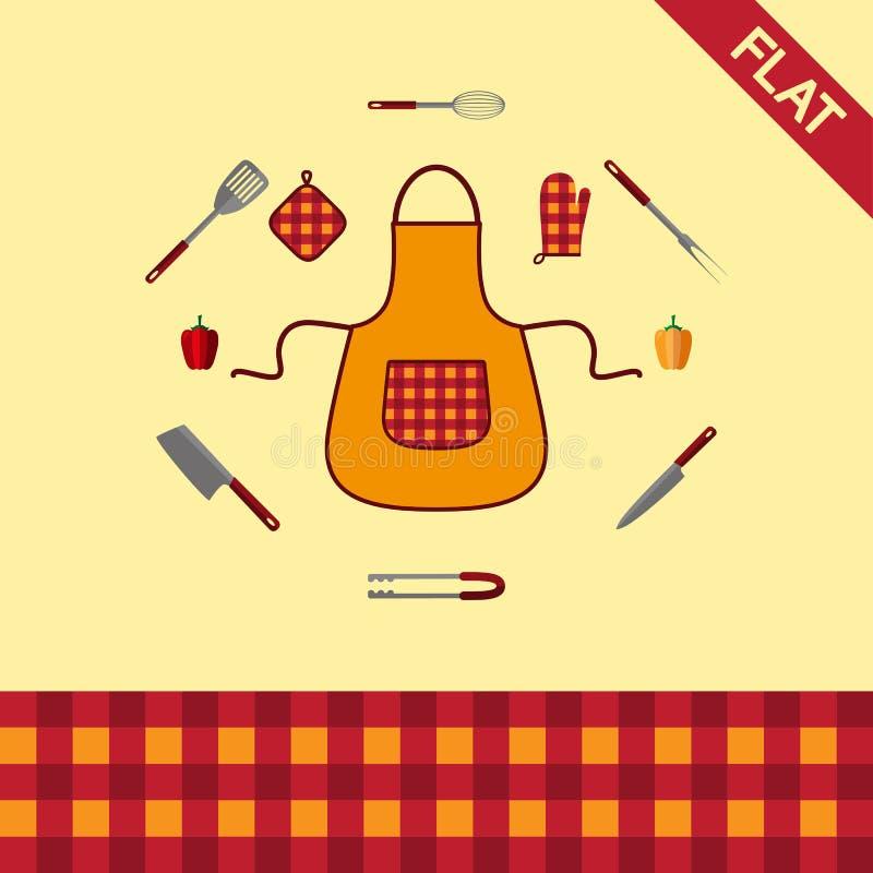 kitchenware Σύνολο εικονιδίων και άνευ ραφής σχεδίου ελεγμένων απεικόνιση αποθεμάτων