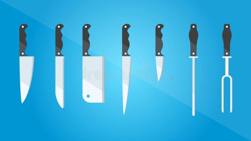 kitchenware Σύνολο διαφορετικών ειδών μαχαιριών Επίπεδο ύφος επίσης corel σύρετε το διάνυσμα απεικόνισης ελεύθερη απεικόνιση δικαιώματος