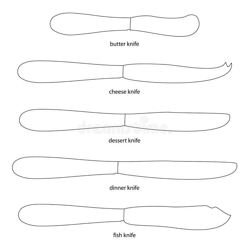 kitchenware Σύνολο μαχαιριών με τα ονόματα διανυσματική απεικόνιση