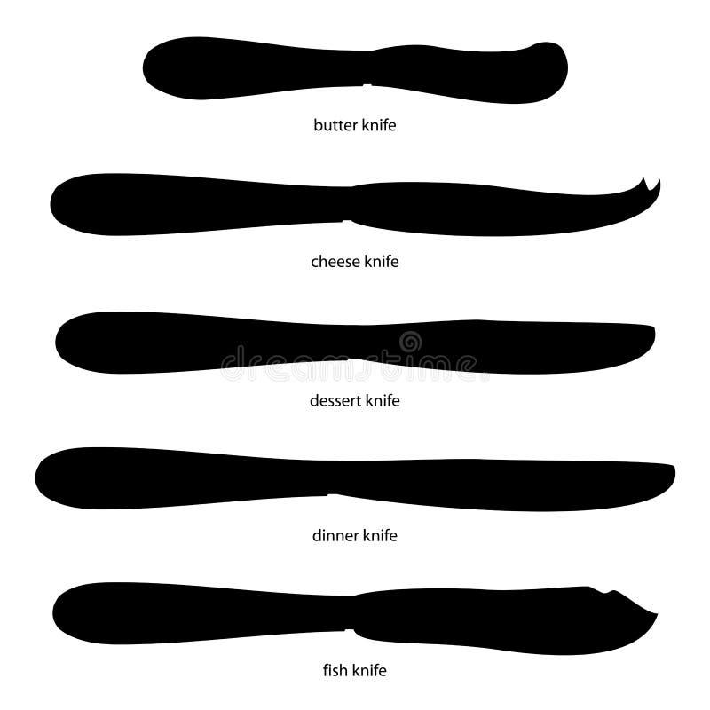 kitchenware Σύνολο μαχαιριών με τα ονόματα απεικόνιση αποθεμάτων