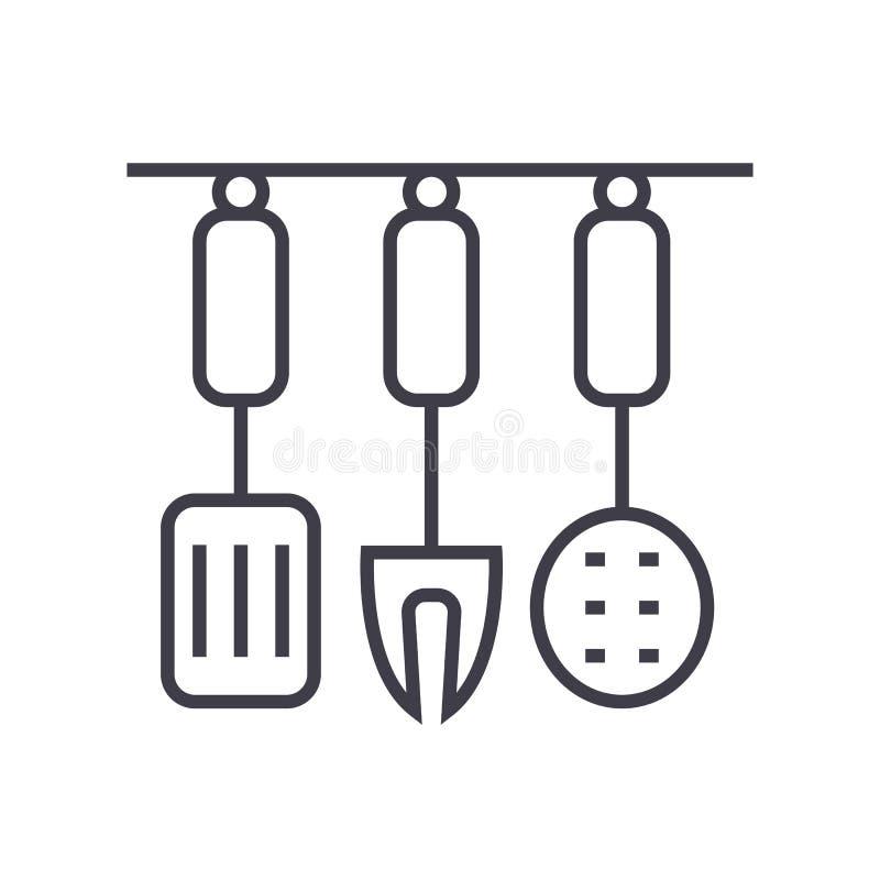 Kitchenware, аксессуары кухни vector линия значок, знак, иллюстрация на предпосылке, editable ходах иллюстрация вектора