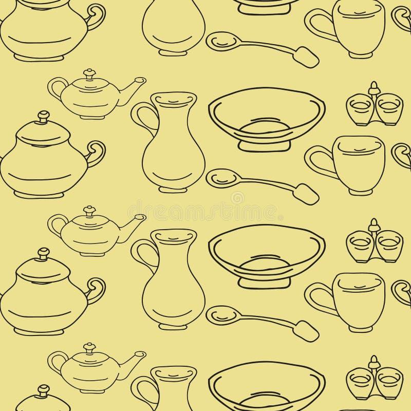 Kitchenware и варя утвари красочные и doodle потехи безшовный бесплатная иллюстрация