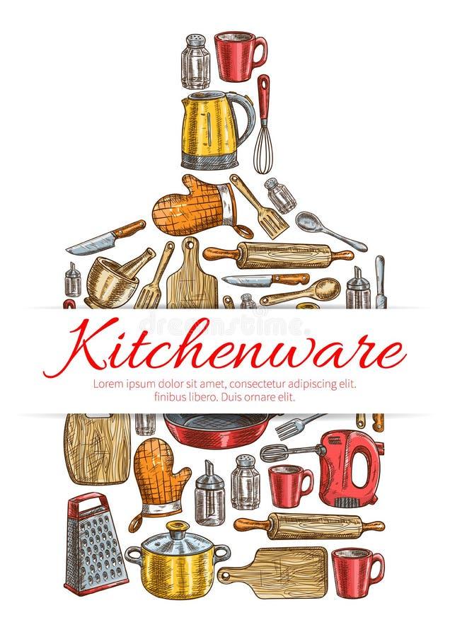 Kitchenware подписывает внутри форму разделочной доски бесплатная иллюстрация