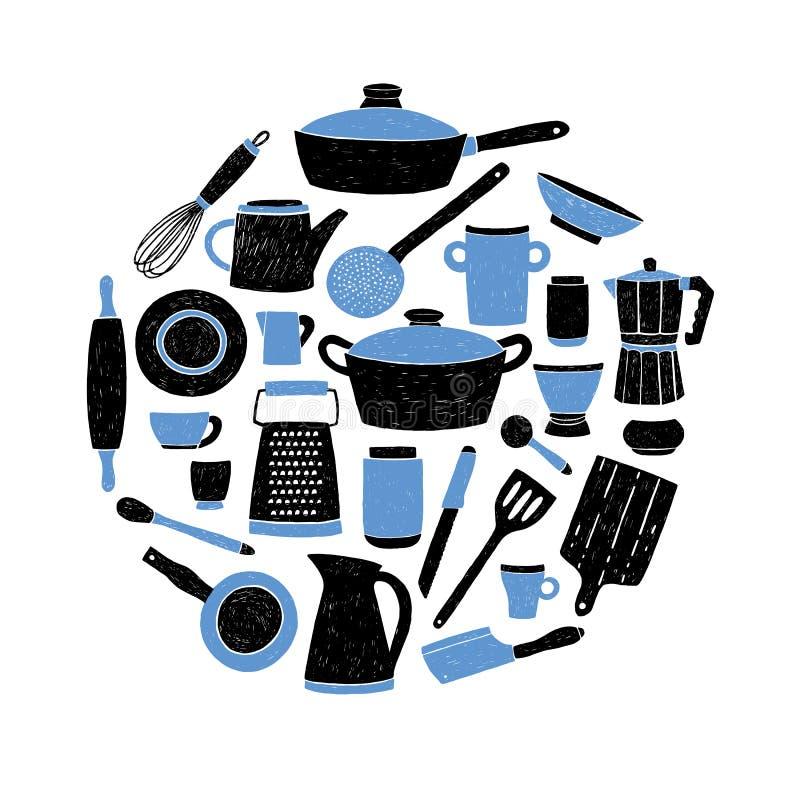 Kitchenware установленный на белую предпосылку Круглый состав с стилизованной doodle нарисованным рукой dishes иллюстрация вектор бесплатная иллюстрация