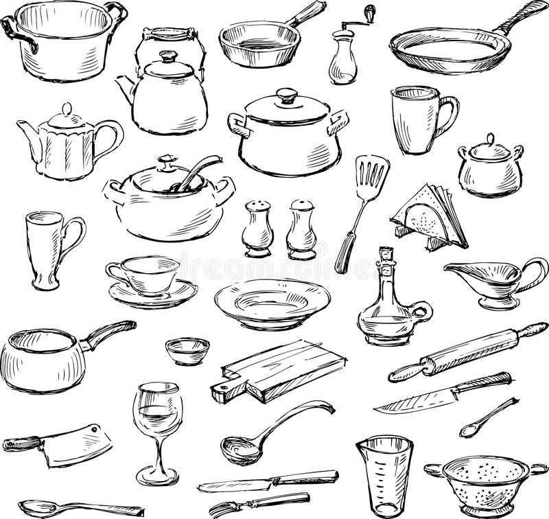 kitchenware illustrazione di stock