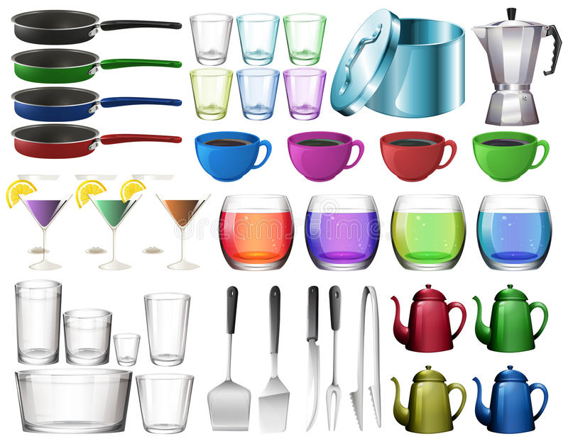 Kitchenware ajustado com vidros ilustração royalty free