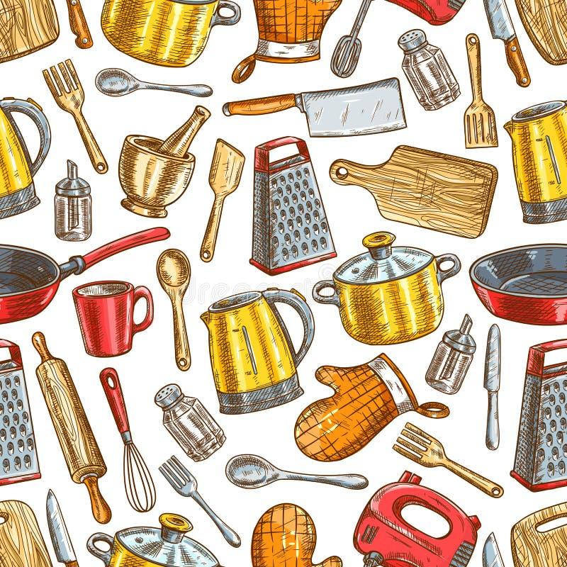 Kitchenware dishware, köksgerådmodell royaltyfri illustrationer