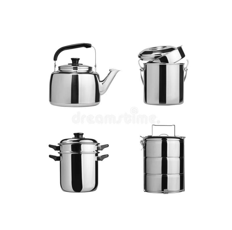 kitchenware Groupe de vaisselle de cuisine d'acier inoxydable photo stock
