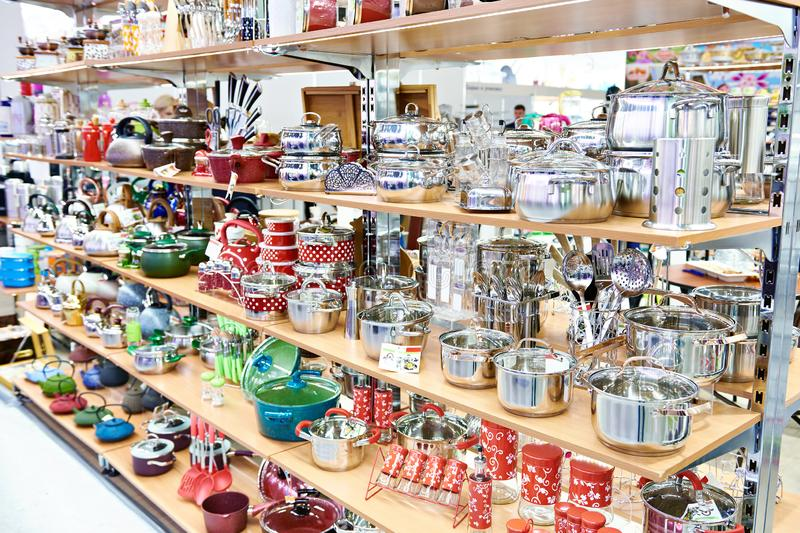 Kitchenware in household goods store stock image