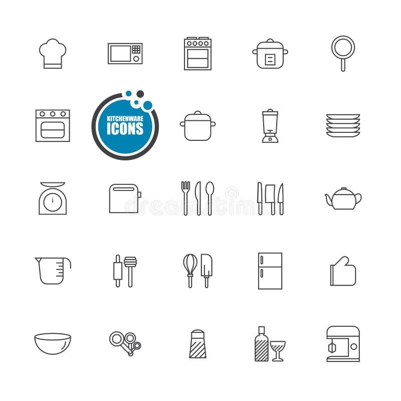 Free Kitchenware Icons Line Set Royalty Free Stock Photography - 61273067