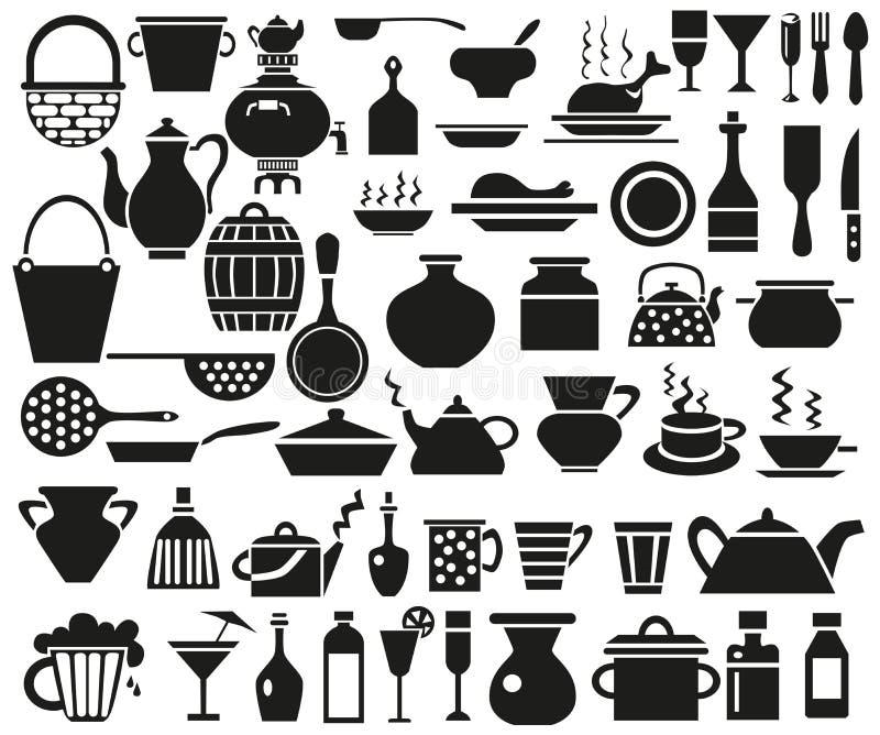 Kitchenware ikony royalty ilustracja