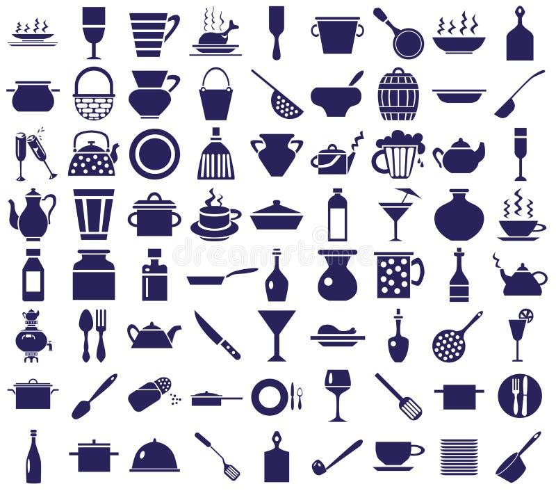 Kitchenware ikony na bielu royalty ilustracja