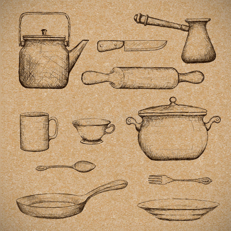 kitchenware Image de griffonnage illustration stock