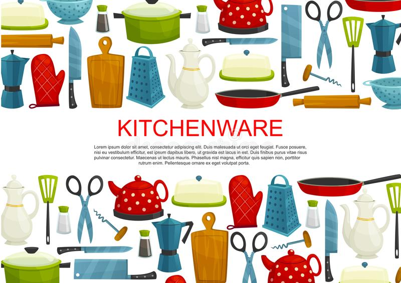 Kitchenware, köksgeråd och hjälpmedelbaner stock illustrationer