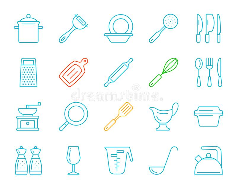 Kitchenware koloru linii ikon wektoru prosty set royalty ilustracja