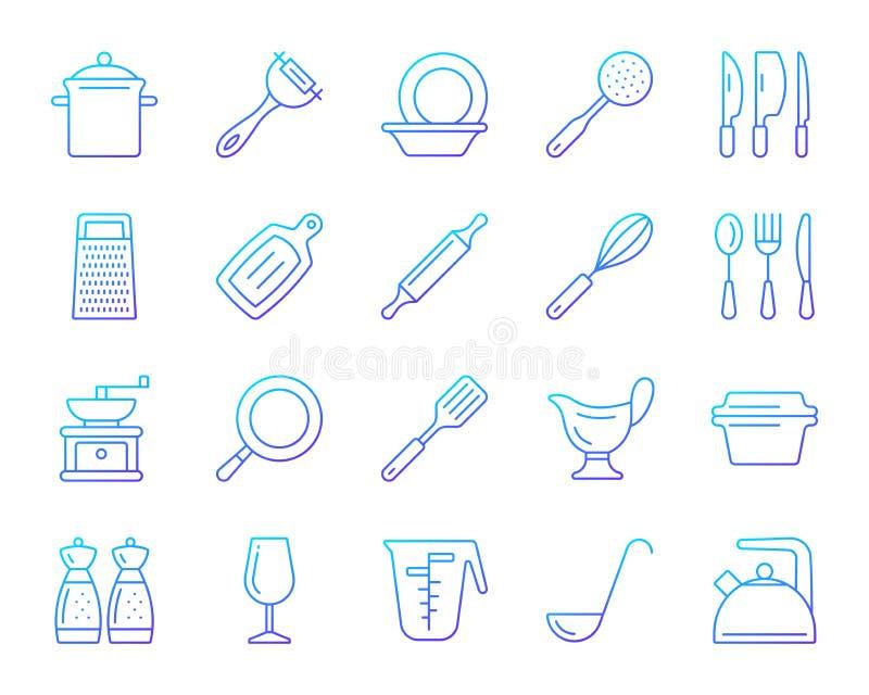 Kitchenware koloru linii ikon wektoru prosty set ilustracji