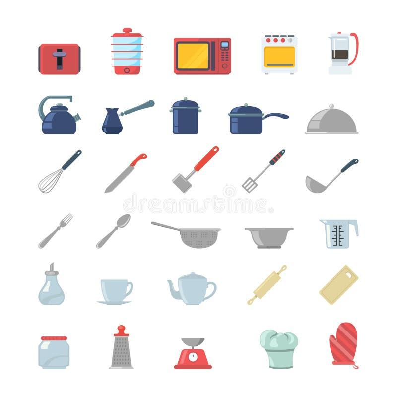Kitchenware kuchennych elektronika ikony opiekacza płaski cutlery royalty ilustracja