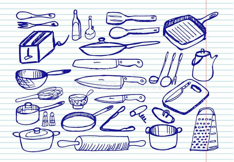 Kitchenware na copybook tle ilustracji