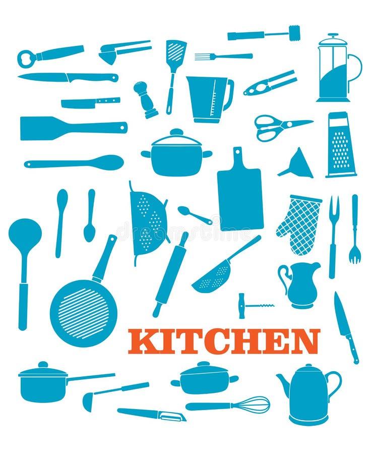 Kitchenware objects set royalty free illustration