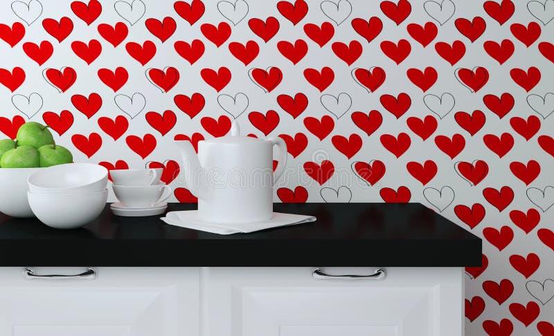 Kitchenware på worktopen royaltyfria foton