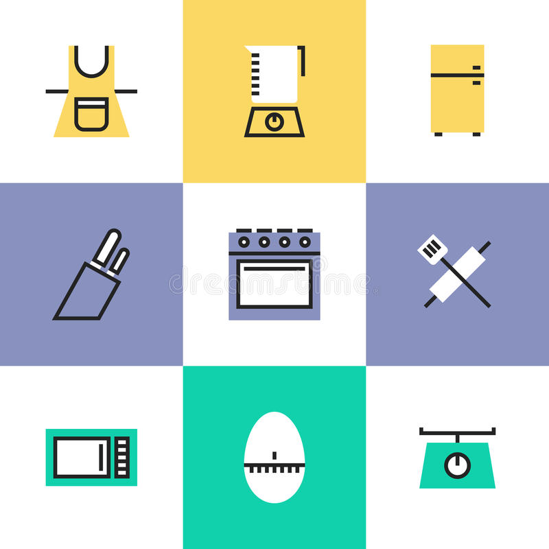 Kitchenware piktograma ikony ustawiać ilustracja wektor