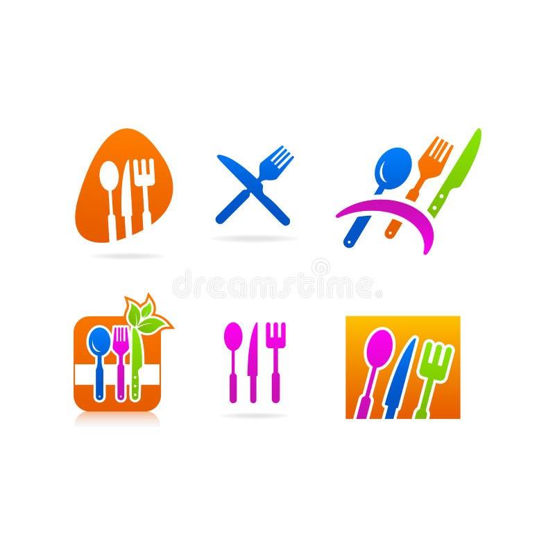 Kitchenware rozwidlenia ikony nożowy łyżkowy logo royalty ilustracja