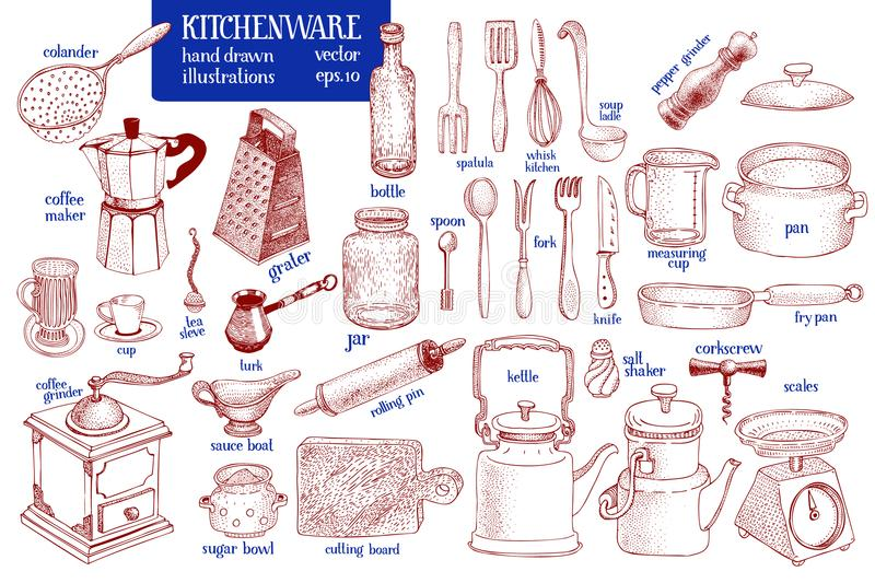 Kitchenware set. Hand drawn vector tableware and kitchen utensils illustration set. Sketch style. royalty free illustration