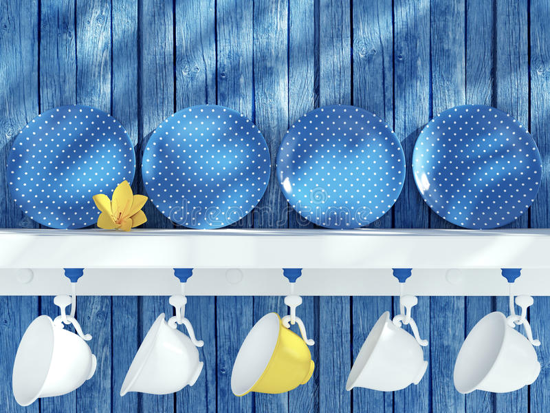 Kitchenware on the shelf. royalty free stock images