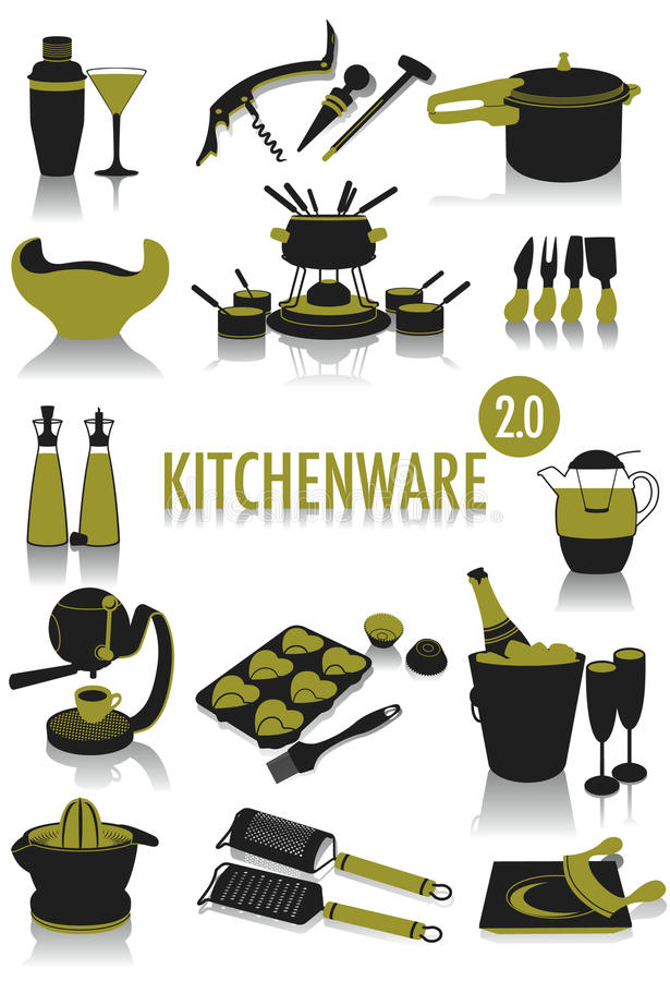 Download Kitchenware silhouettes stock vector. Image of flute - 10278380