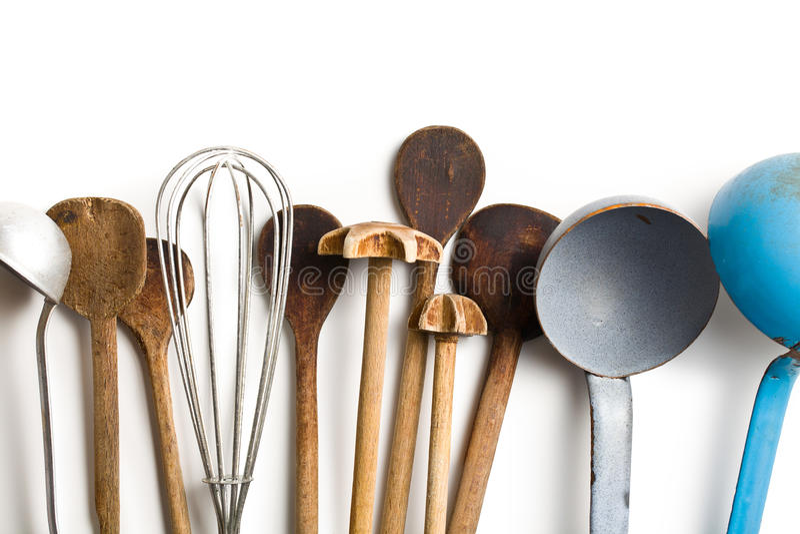 Kitchenware velho foto de stock royalty free