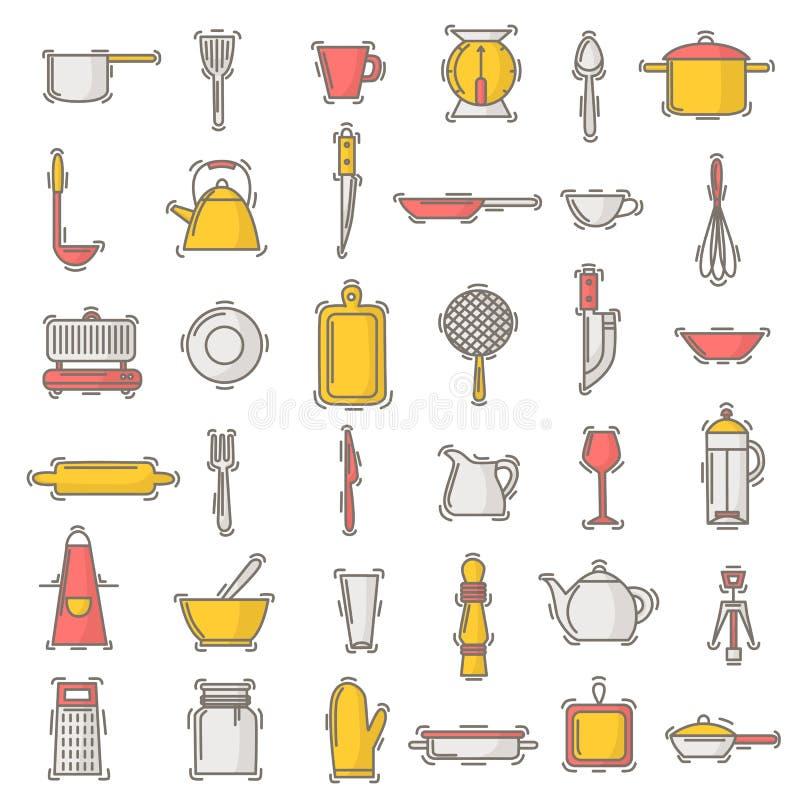 Kitchenware wektorowy bezszwowy deseniowy cookware dla gotować, kuchenni naczynia i cutlery dla kitchener tła royalty ilustracja