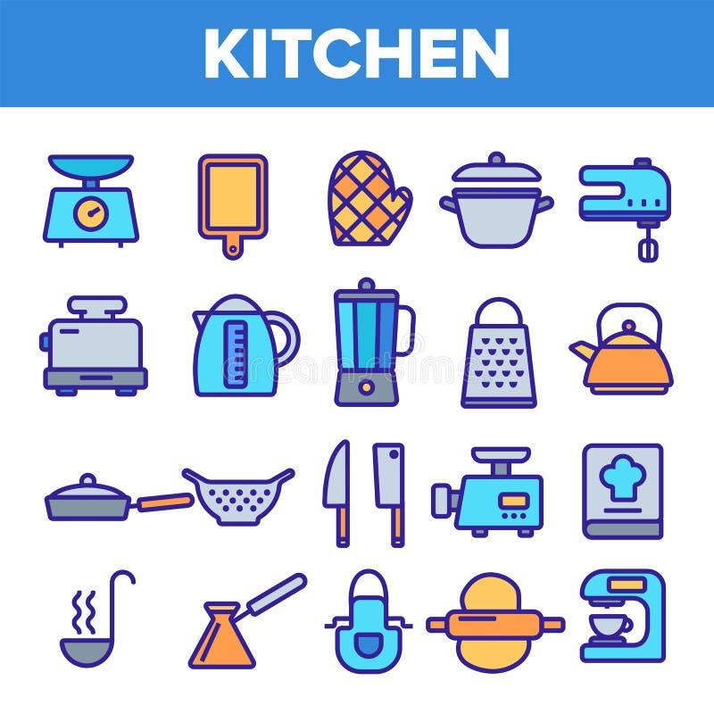 Kitchenwarelinje fastst?lld vektor f?r symbol Hem- k?khj?lpmedelsymbol Klassisk Kitchenware som lagar mat symboler Tunn ?versikts stock illustrationer